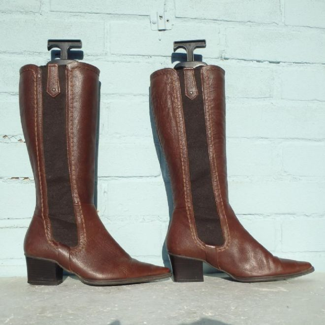 Marks & Spencer Brown Leather Boots Size Uk 3 Eur 36 Womens Elasticated Pull on